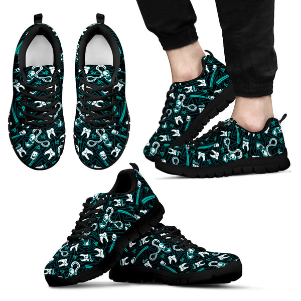 Men's Teeth Essentials Pattern Dental Sneakers in Green and Black
