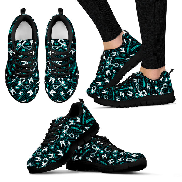Women's Teeth Essentials Pattern Dental Sneakers in Green and Black
