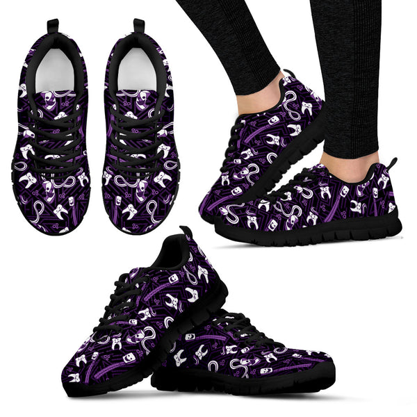 Women's Teeth Essentials Pattern Dental Sneakers in Purple and Black