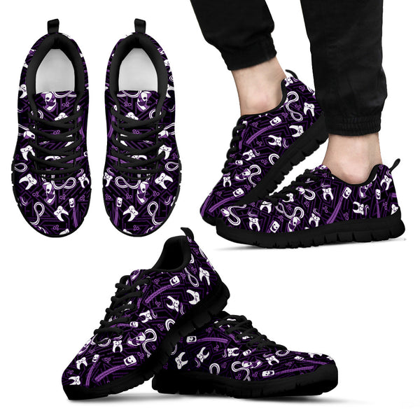 Men's Teeth Essentials Pattern Dental Sneakers in Purple and Black