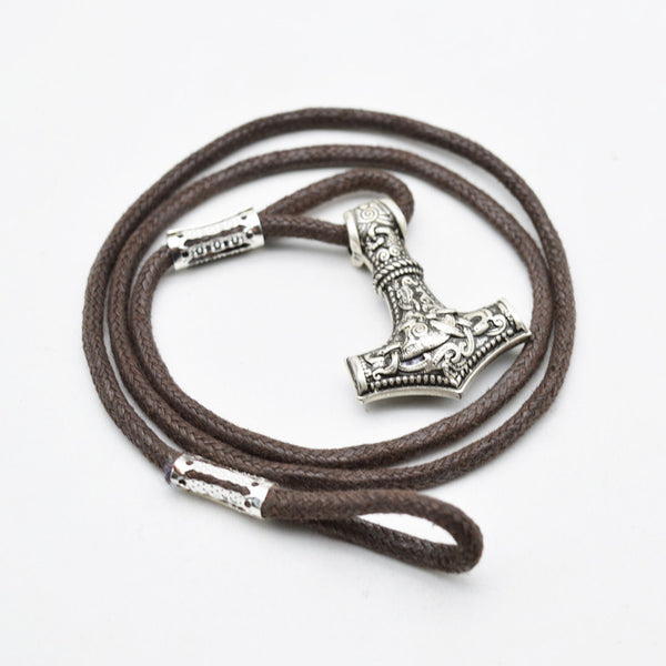 Thor's Hammer Leather Viking Wrap Bracelet