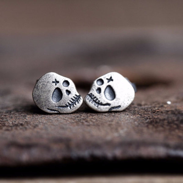 Sterling Silver Skull Stitched Stud Earrings