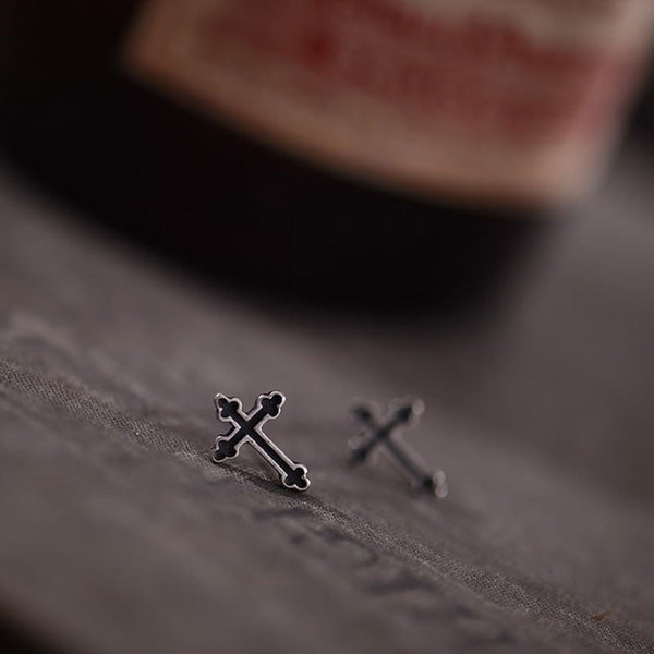 Sterling Silver Black Crosses Stud Earrings