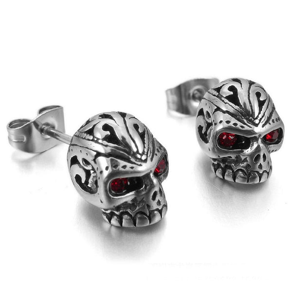 Stainless Steel Engraved Skull & Crystal Eye Stud Earrings