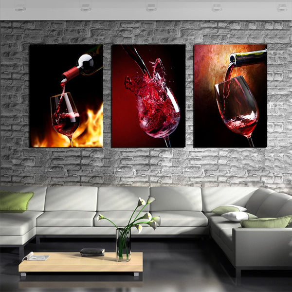 3-Piece Glass of Red Wine Canvas Painting Set