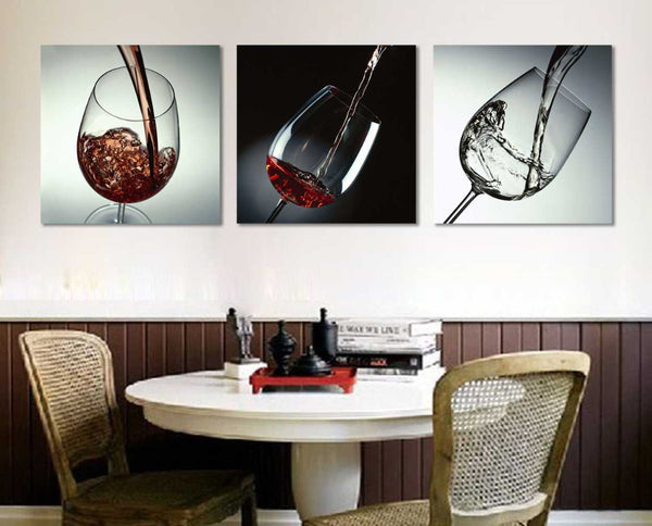 Wine Glass Canvas Painting - 3 Piece Set