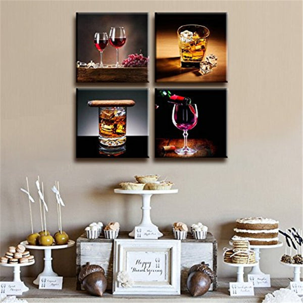 4-Piece Set Modern Glass Canvas Paintings - Unframed
