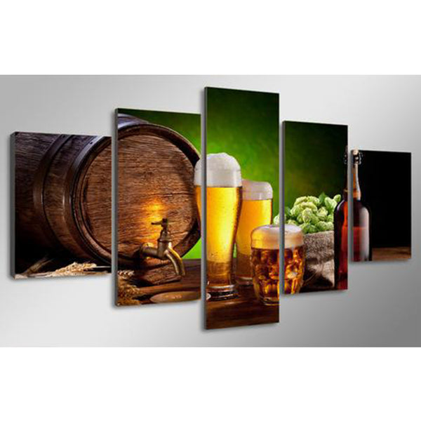 5-Piece Beer and Barrel Canvas Painting