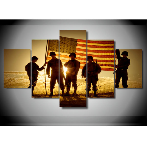 5-Piece American Soldier with American Flag HD Printed Canvas Painting