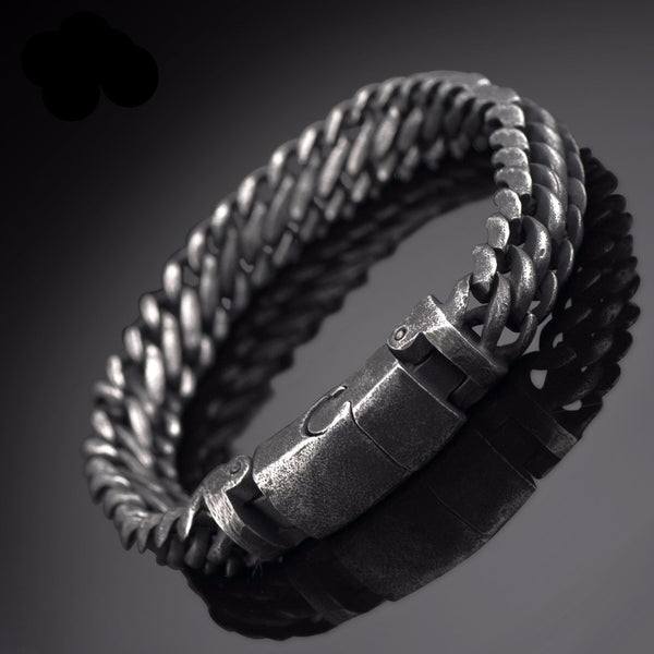 Dungeon Dusted Stainless Steel Link Woven Bracelet