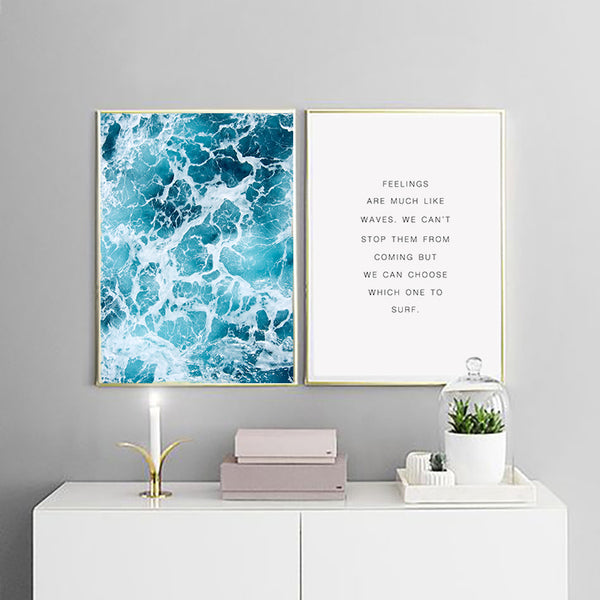 Feelings Are Like Waves Wall Art Canvas Painting - Unframed & Sold Separately