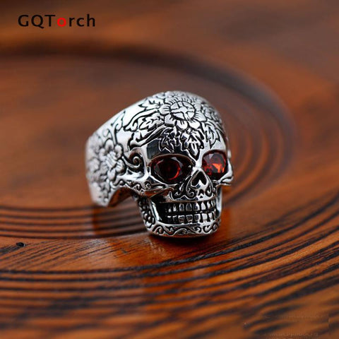 Sterling Silver Skull Ring With Natural Stone Red Garnet Vintage