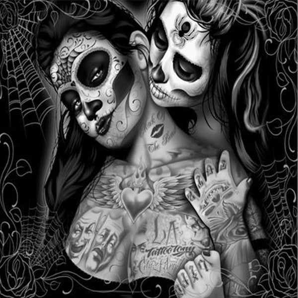 Sugar Skull Girls Canvas Painting