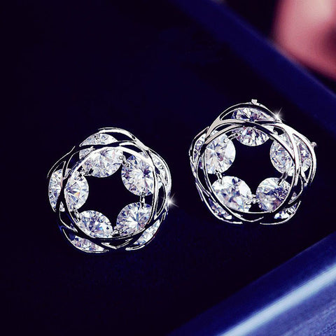 Circle of Diamonds Earrings - Genuine 18 kt Gold