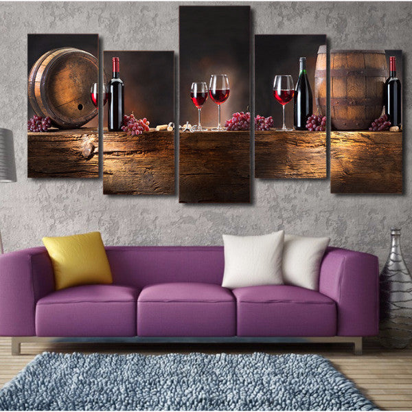 5-Piece HD Printed Wine and Oak Barrel Canvas Painting