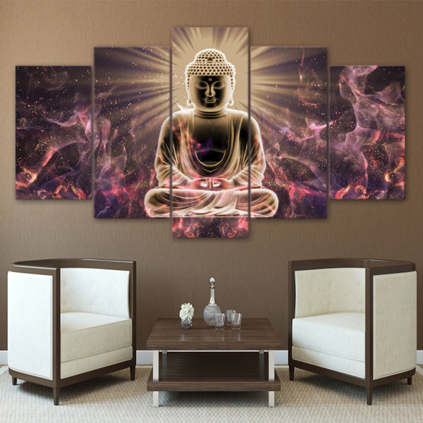 HD Printed Buddha Canvas Painting - 5 Pieces/Set