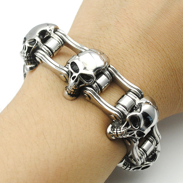 Stainless Steel Circle of Skulls Motorcycle Chain Bracelet