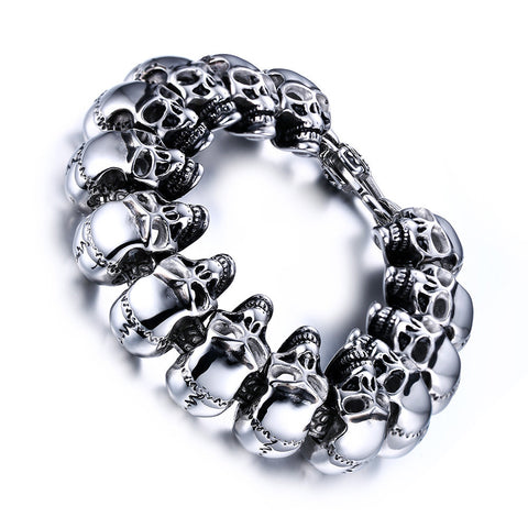 Stainless Steel Circle of Skulls Bracelets