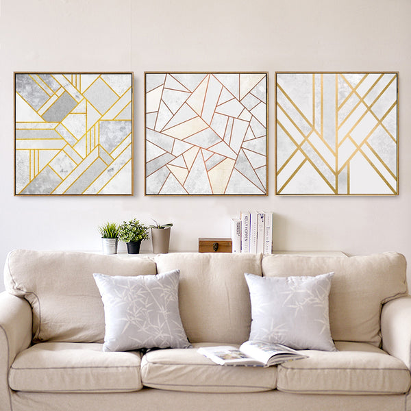 Minimalist Geometric Pattern Canvas Painting - Unframed