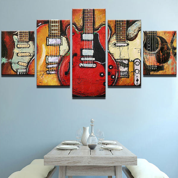 5-Piece Electric Guitar Canvas Painting