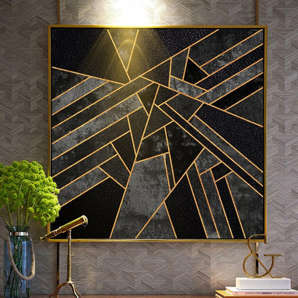 Minimalist Geometric Pattern Canvas Painting in Dark Undertones - Unframed