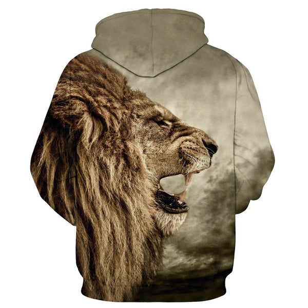 Ruler of the Jungle All Over Graphic Printed Lion Attitude Pullover Hoodie