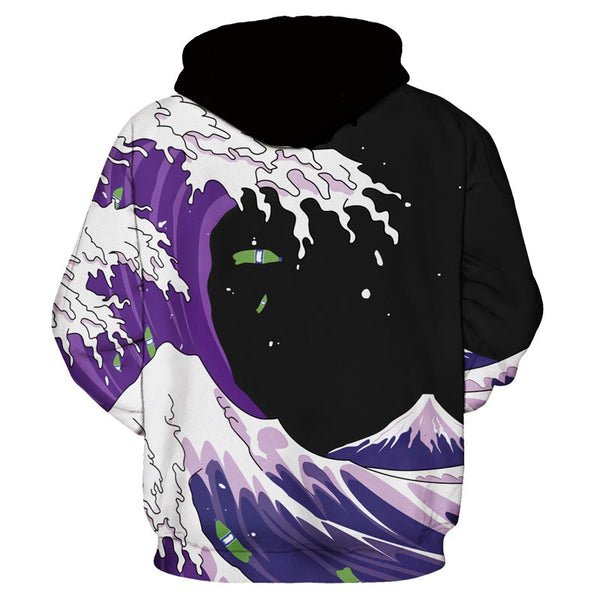 Japanese Anime Midnight Wave All Over Graphic Printed Pullover Hoodie