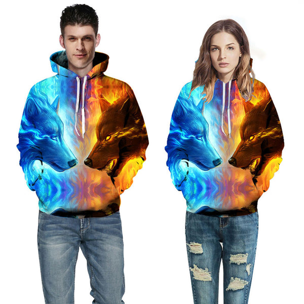 Fire Vs. Ice Wolf Face Off All-Over Graphic Printed Pullover Hoodie