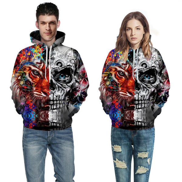 Futuristic Split Personality Skull & Tiger All Over Graphic Printed Pullover Hoodie