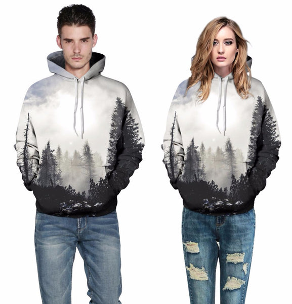 Misty Morning Walks in the Forest All Over Graphic Printed Pullover Hoodie