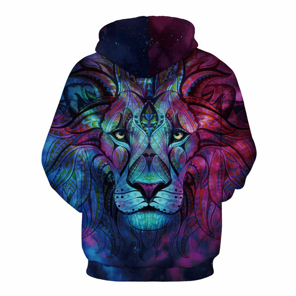 Galactic Lion All Over Printed Pullover Hoodie