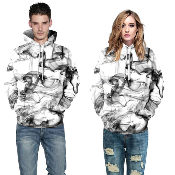 Smoke Lines All Over Graphic Pullover Hoodie