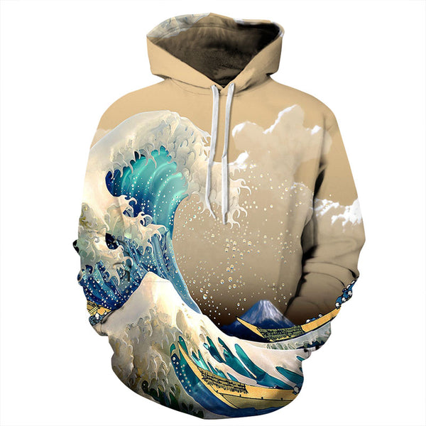 Japanese Anime Waves All Over Graphic Printed Pullover Hoodie