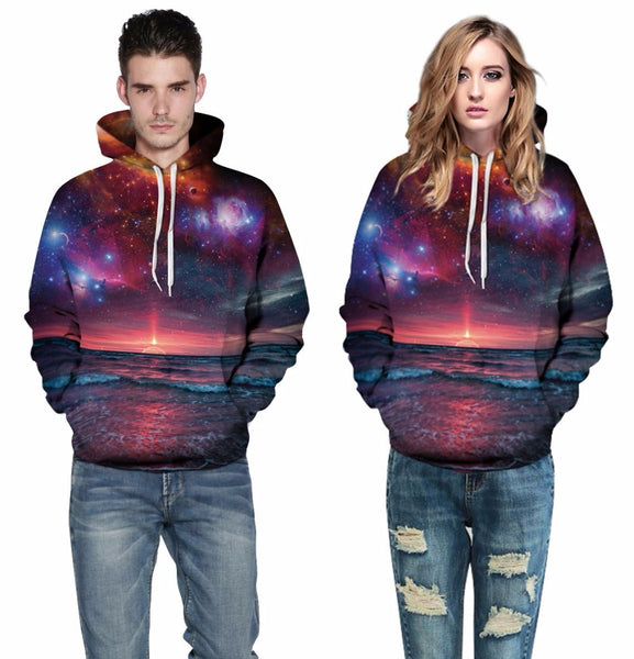 Galactic Space Sunset All Over Graphic Printed Pullover Hoodie