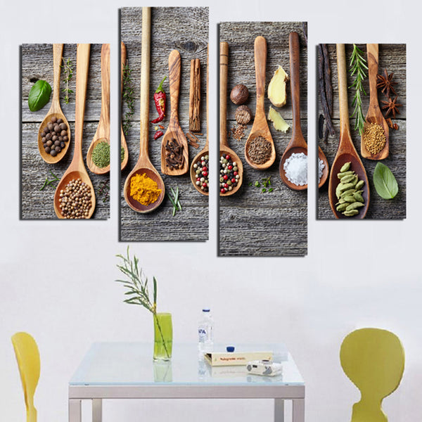 4-Set Piece Wooden Spoon with Herbs and Spices Canvas Painting