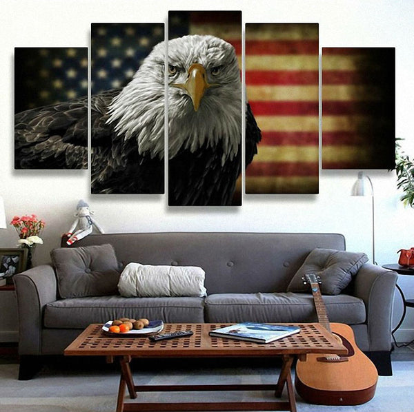 5-Piece American Flag and Eagle HD Canvas Painting