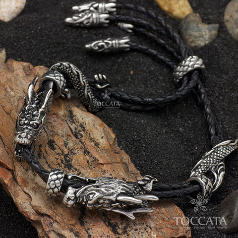Sacred Black Cloud Rider Dragon Weaved Leather & Pure Stainless Steel Bracelet