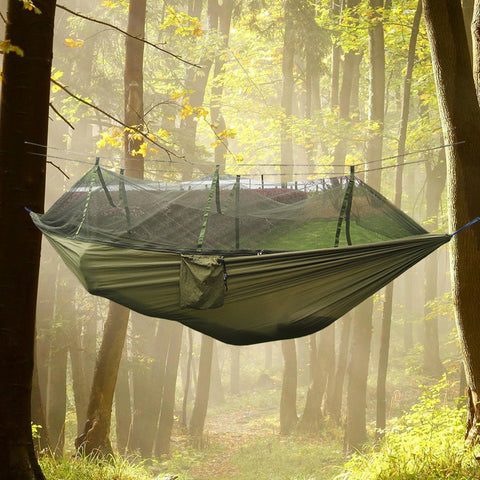 Ultralight Outdoor Mosquito & Bug Repellant Net Parachute Nesting Hammock - 2 Person Flyknit Camping/Hunting/Leisure Hammock