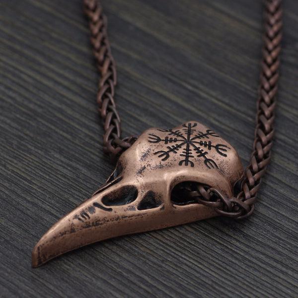 The helm of awe raven skull necklace matte moss the helm of awe raven skull necklace aloadofball Images