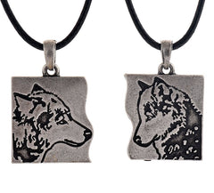 Vintage Wolf Pendant Necklaces (Set of 2) BFF/Couples Wolf Pact Necklace