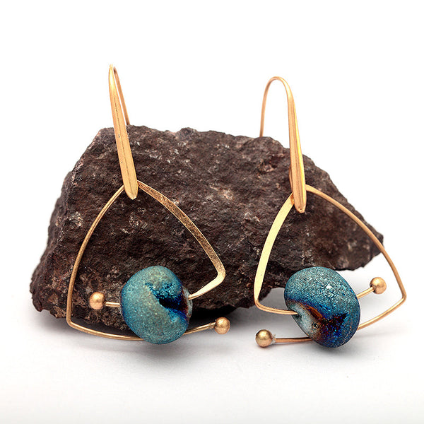 Ocean Reef Blue and Vintage Gold Natural Stone Drop Earrings