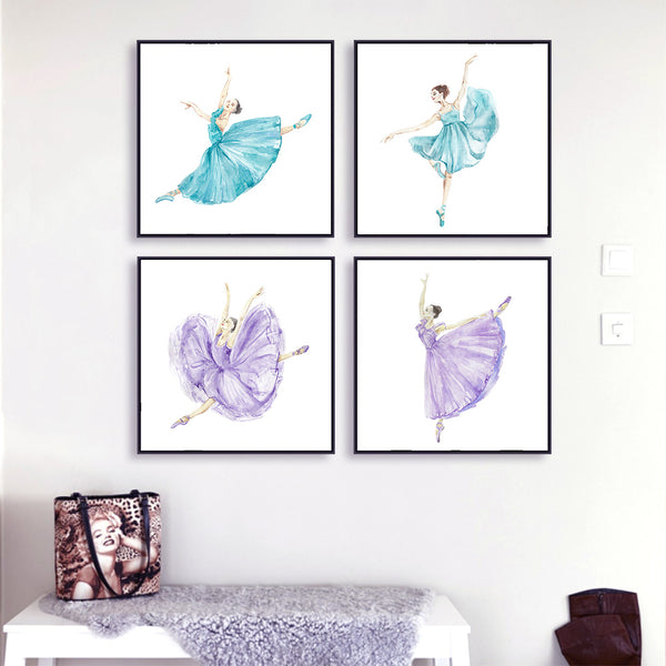 Watercolor Ballet Dancers Canvas Art Print Painting Poster - Unframed & Sold Separately