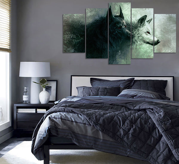 5-Piece Wolf Canvas Painting