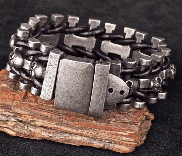 Stainless Steel Skull & Leather Loom Buckle Bracelet