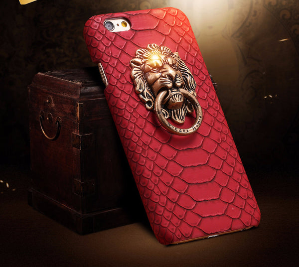 Lion Crest Snakeskin Phone Case with 3D Lion Head Protective Phone Cover for Apple iPhone
