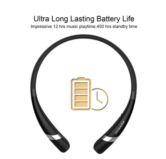 Wireless Bluetooth Headset w Noise Reduction, Volume Control, & Microphone