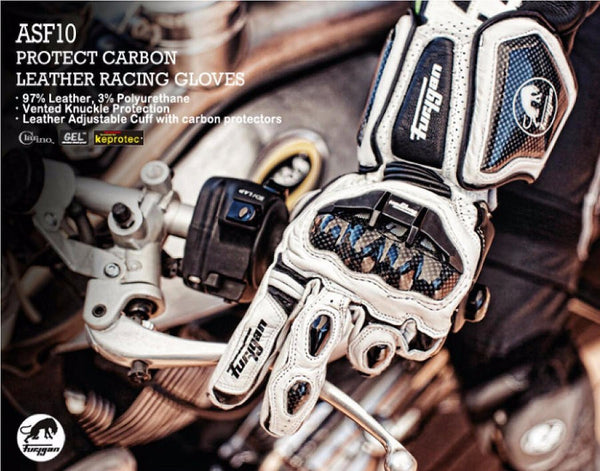 Carbon Fiber & Leather Motorcycle Racing Gloves