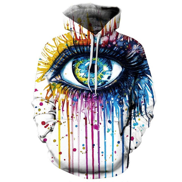 Graffiti Paint Splatter Eye All Over Graphic Printed Pullover Hoodie