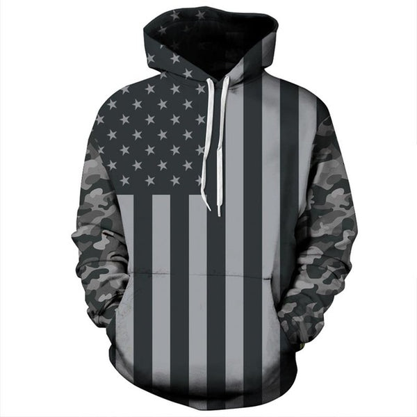 Patriotic AF - American Flag w/Camo Sleeve All-Over Graphic Printed Pullover Hoodie
