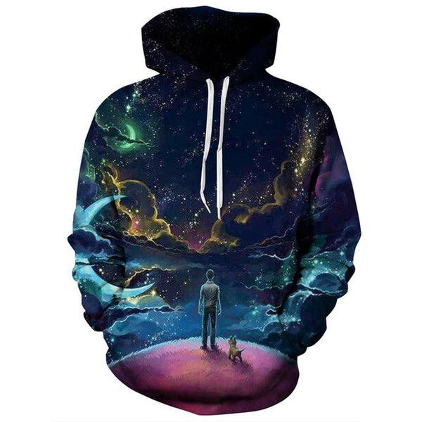 Staring at the Galaxy All Over Graphic Printed Pullover Hoodie